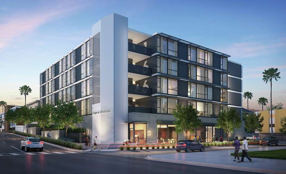 In Los Angeles, the architecture firm KTGY is repurposing shipping containers to build a transitional apartment complex for the homeless. Photo: KTGY