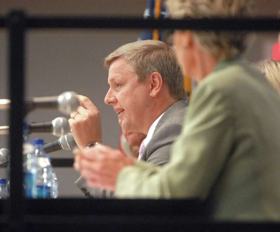 Alan Addley speaks during an H1N1 panel discussion at Southern Connecticut State University in 2009