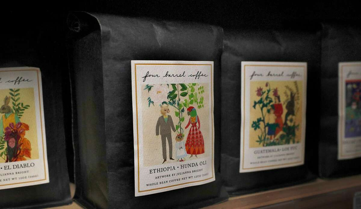 Four Barrel coffee beans for sale on the shelves at Canyon Market in San Francisco, on Mon. January 8, 2018. Janet and Richard Tarlov, are the co-owners of Canyon Market, carry the Four barrel Espresso blend at their coffee bar as well as several Four Barrel coffee beans for sale. They are still trying to figure out what is the best decision for her business in the wake of Four Barrel's recent sexual harassment lawsuit.