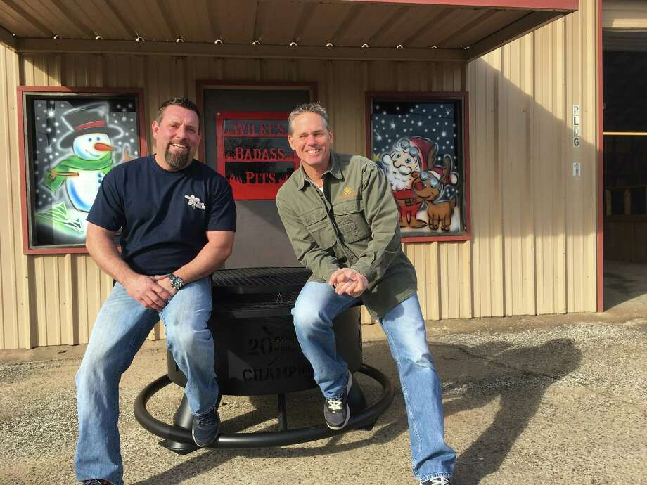 PHOTOS: A look at Craig Biggio's custom World Series fire pitBrian Wilke, left and Houston Astros' Hall of Famer Craig Biggio pose for a photo Friday, Jan. 5, 2018, outside Wilke's Badass Pits in downtown Conroe. The second base legend was in Conroe to pick up a custom World Series fire pit from Wilke's Badass Pits. Photo: Submitted Photo