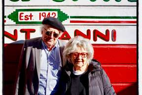 Poet Tony Dingman and North Beach raconteur Jeannette Etheredge celebrate Gino & Carlo's 75th anniversary. Dec. 23, 2017.