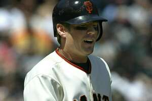 San Francisco Giants rookie Kevin Frandsen got hit by San Diego Padres pitcher Woody Williams in the third inning of a baseball game, his fourth HBP in five games, Tuesday, May 2, 2006 in San Francisco. (AP Photo/Dino Vournas)  Ran on: 05-07-2006  Ran on: 05-07-2006