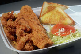 Shrimp, catfish, French fries with toast and vegetables at Bluebird Fish Camp in Orange. Photo taken Friday, January 05, 2018 Guiseppe Barranco/The Enterprise