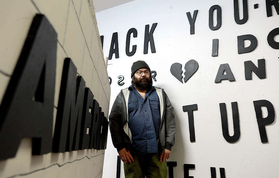 Maurice Abelman is among the local artists creating large-scale installations that engage the viewer in an interactive experience with the work. Abelman's series of installations exploring postivity and negativity and labels is currently on display at The Music Studio. Photo taken Thursday, January 4, 2018 Kim Brent/The Enterprise Photo: Kim Brent / BEN