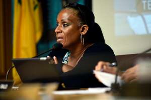 Council chairperson Desley Brooks speaks during an Oakland City Council public city committee meeting discussing African-American recruitment and retention in police force, at City Hall in Oakland, CA Friday, October 13, 2015.