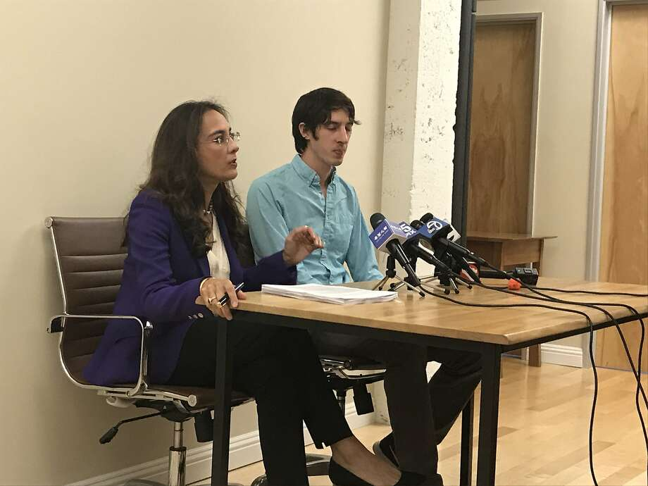 Attorney Harmeet Dhillon and her client former Google engineer James Damore speak at a press conference. Damore sued Google for discrimination, following his firing in August after he wrote a controversial memo that raised concerns about Google's hiring practices. Photo: Wendy Lee