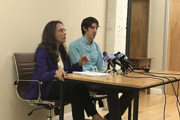 Attorney Harmeet Dhillon and her client former Google engineer James Damore speak at a press conference. Damore is suing Google for discrimination, following his firing in August after he wrote a controversial memo that raised concerns about Google's hiring practices.