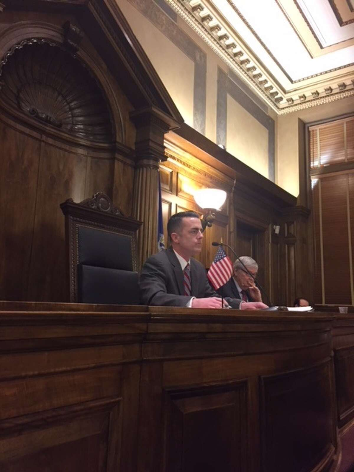 Albany County Legislator Andrew Joyce takes seat as newly elected chair of the Legislature on Monday, Jan. 8, 2018.