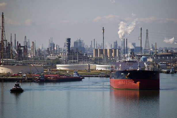A tanker departs after leaving oil at the Citgo refinery at the Port of Corpus Christi.