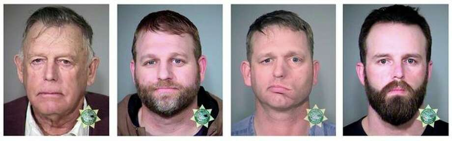 FILE - This undated combination of file photos provided by the Multnomah County, Ore., Sheriff's Office shows, from left, Nevada rancher Cliven Bundy and his sons Ammon Bundy and Ryan Bundy and co-defendant Ryan Payne. (Multnomah County Sheriff's Office via AP, File) / Multnomah County Sheriff's Office