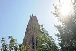 "New Haven--A view of Harkness tower where Yale senior Carillonneur Jessica Hsieh played the Carillon bells as part of Yale's 9/11 commemoration activities. Hsieh played ""Lament and Alleluia"" by Alice Gomez.   Peter Casolino/New Haven Register  9/11/11"