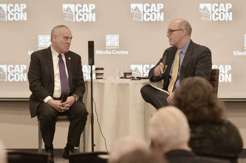 State Comptroller Tom Dinapoli is interviewed by Times Union Senior Editor for News at the Hearst Media Center on Tuesday, Jan. 9, 2018.