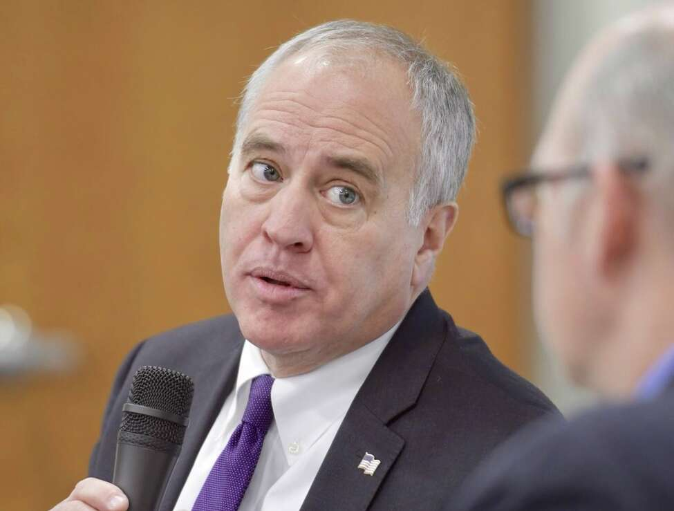 Comptroller Tom DiNapoli is interviewed by Executive City Editor Casey Seiler, right, on Tuesday, Jan 9, 2018, at Hearst Media Center in Colonie, N.Y. (Skip Dickstein/ Times Union)