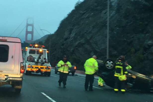 An overturned vehicle on southbound 101 has caused delays in the morning commute in Marin County.