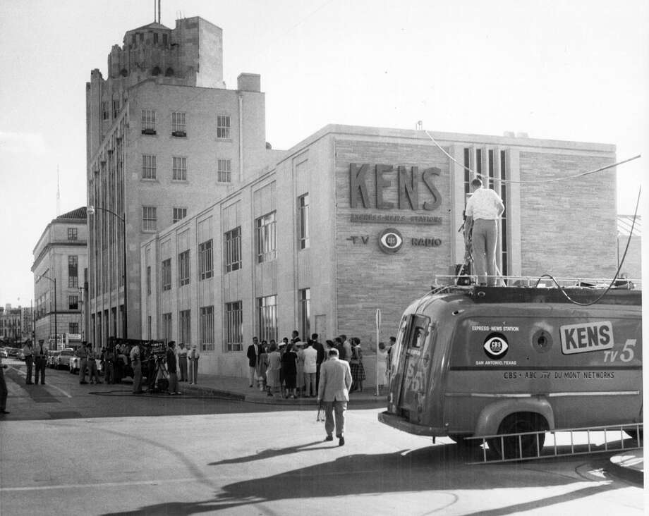 KENS-TV at its former location at Avenue E and 4th Street, next to the San Antonio Express-News (where the presses are now located). The photo is believed to have been taken in 1956. KENS-TV moved there in 1956. Photo: File Photo / Express-News