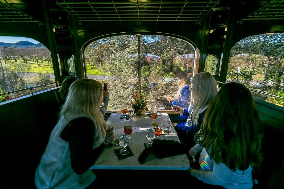 Alexis (left), Jen  and Brenna Belardinelli and Robin Wilson aboard the Wine Train. Photo: John Storey, Special To The Chronicle