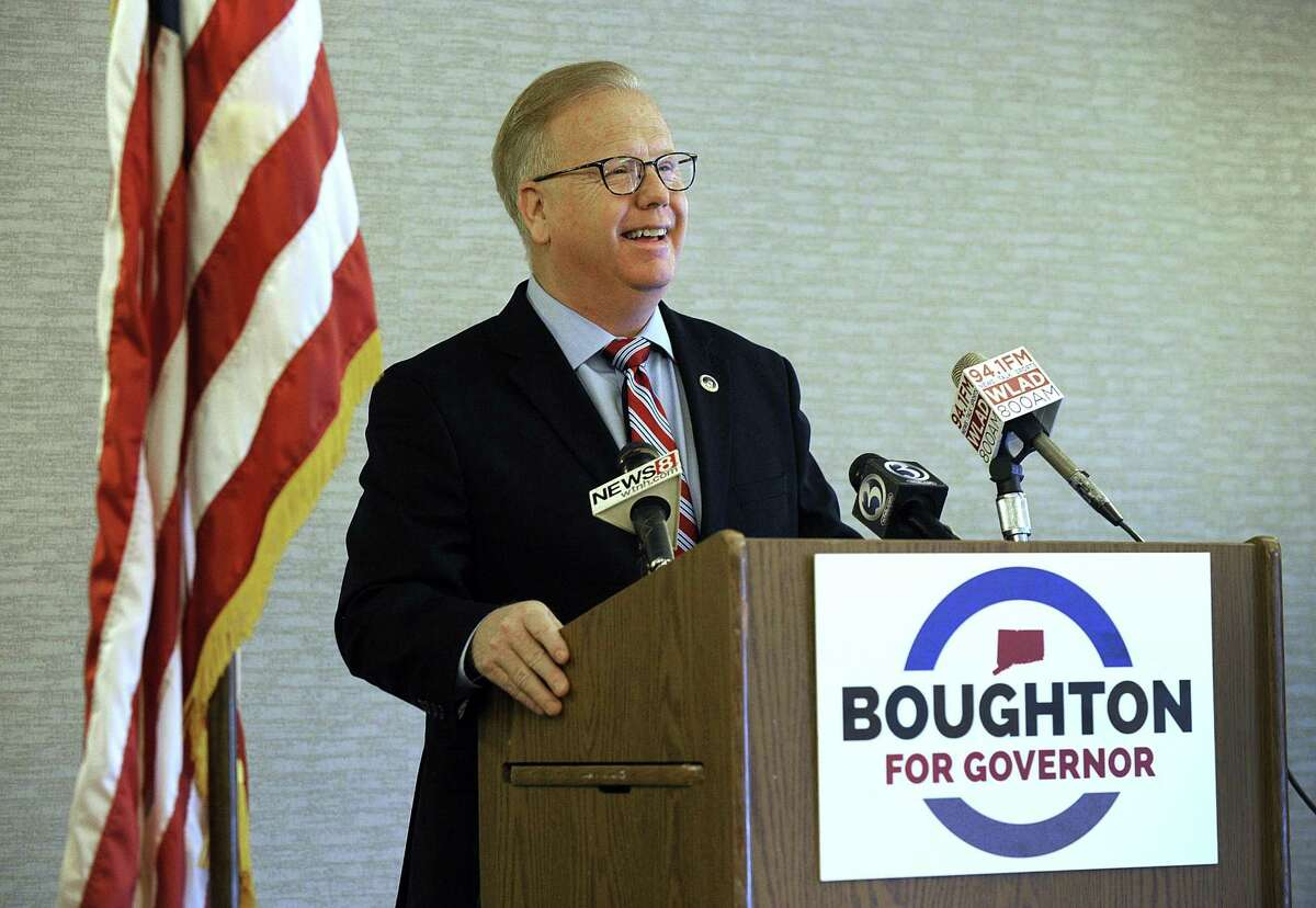 Mark Mark Boughton holds a press conference Tuesday at the Courtyard Marriott in Danbury to announce he is seeking the GOP nomination for governor.