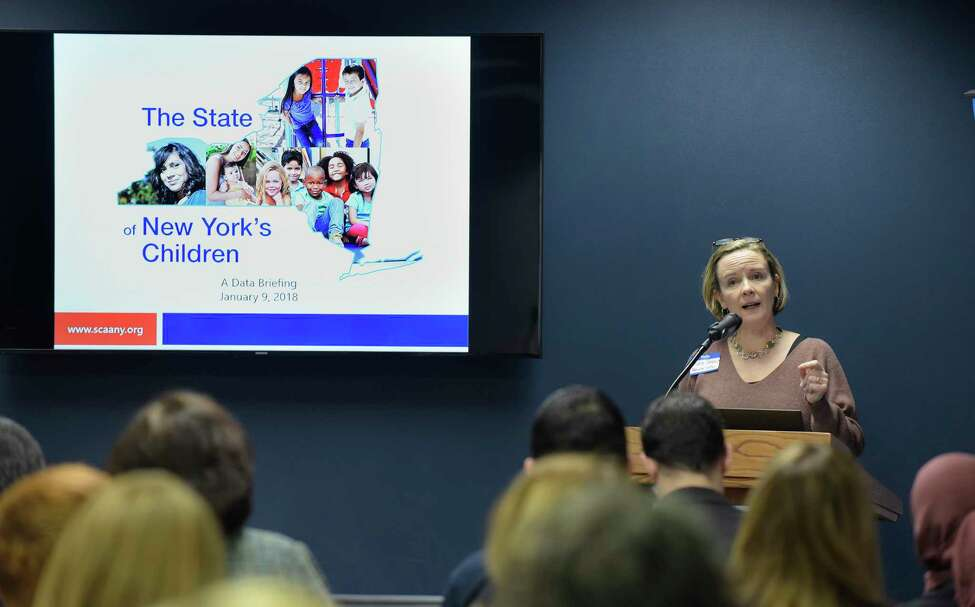 Kate Breslin, president and CEO, Schuyler Center for Analysis and Advocacy, takes part in a briefing at the Legislative Office Building on the status of New York's children and what the center is advocating for to help children in this year's budget, on Tuesday, Jan. 9, 2018, in Albany, N.Y. (Paul Buckowski / Times Union)