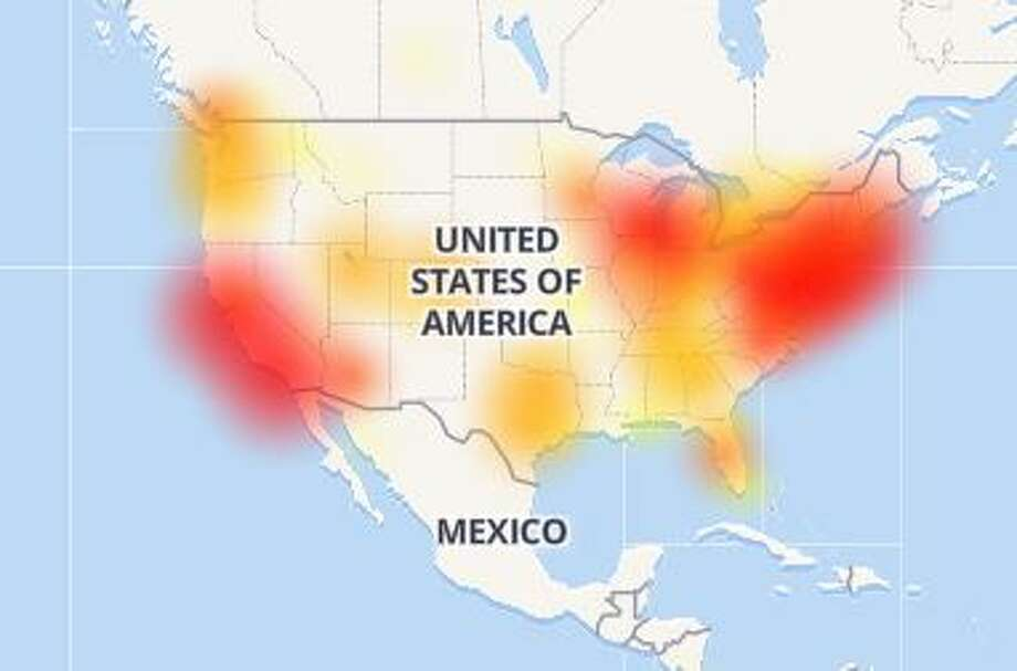 This map from Down Detector shows reported Slack outages across the United States Tuesday.  Photo: Downdetector.com