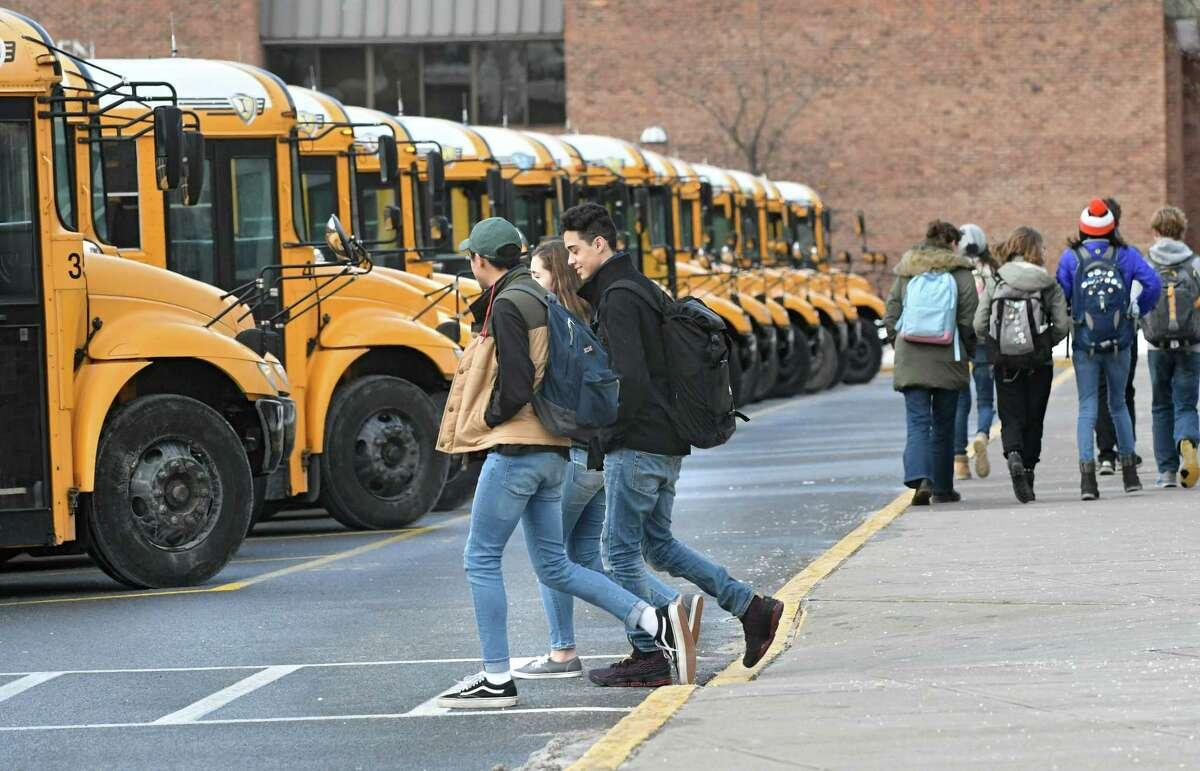 School buses pick up students at Saratoga High School on Tuesday Jan. 9, 2018 in Saratoga Springs, N.Y. (Lori Van Buren / Times Union)