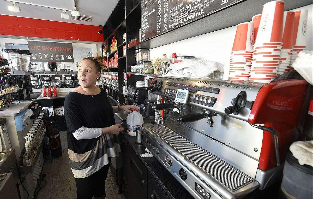 BonJo Coffee Roaster business partner Marcella Bonaiuto prepares a cappuccino in BonJo's showroom at 345 Elm St., in Stamford, Conn., on Friday, Jan. 5, 2018.