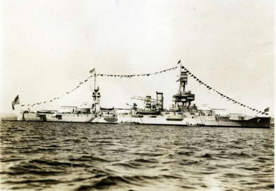 This undated shot shows the USS Texas, which played a major role in  pivotal battles in World War II, participating in the battle of Iwo Jima and the Allied invasion of Normandy. A foundation seeking to preserve the vessel says that  effects of Hurricane Harvey have not deterred fundraising efforts, including the sale of a commemorative rifle.