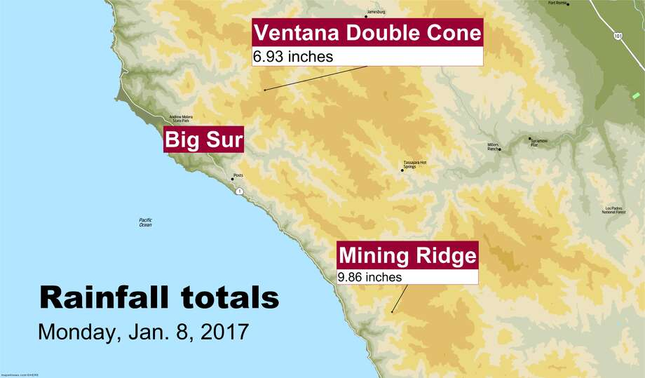 Mining Ridge received nearly 10 inches of rain on Monday. Photo: SFGATE