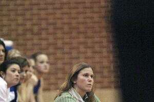 File photo of Kerrville Tivy Lady Antlers coach Christy Dill, mother of McKenzie Dill, who was suspended for two games for pushing a South San player.