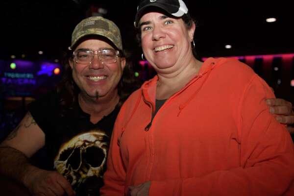 Scott Wayne and Darla Crawford have fun at Two Rivers Tavern.