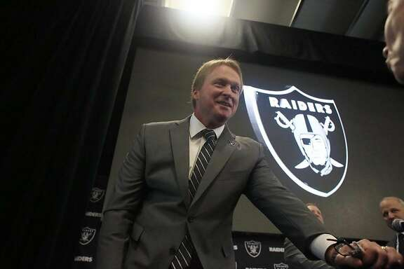 Jon Gruden, Oakland Raiders head coach, talks to people gathered after being introduced as the new head coach of the Oakland Raiders during a news conference at Raiders Headquarters on Tuesday, January 9, 2018 in Alameda, Calif.