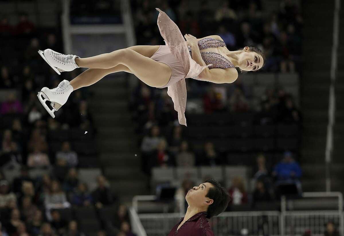 Marissa Castelli, top, and Mervin Tran perform during the pairs free skate event at the U.S. Figure Skating Championships in San Jose, Calif., Saturday, Jan. 6, 2018. (AP Photo/Tony Avelar)
