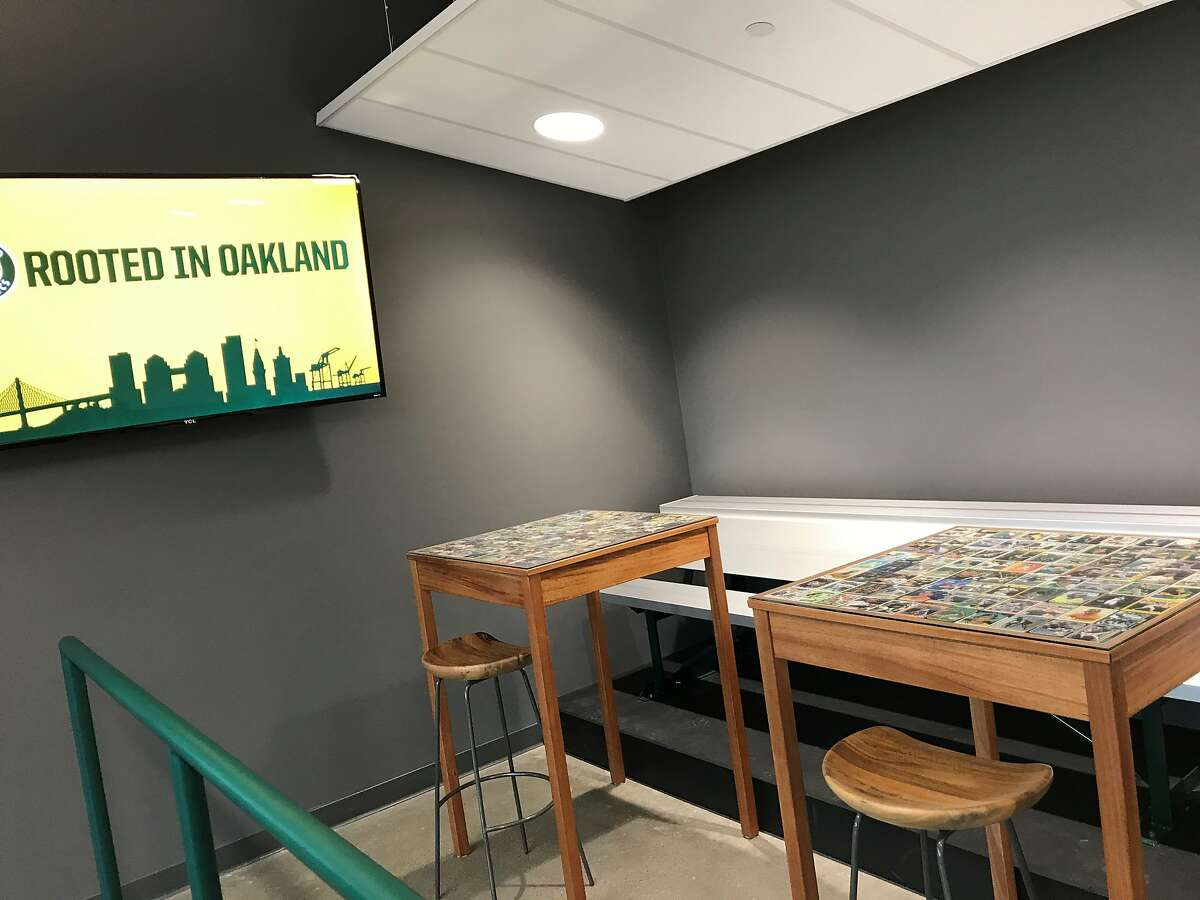 The A's moved into new offices in Jack London Square this week. Amenities include a gym, a batting cage, a mural by street-art crew the Illuminaries and team memorabilia displays, including, as pointed out by team president Dave Kaval, the orange baseball proposed by former owner Charlie Finley.