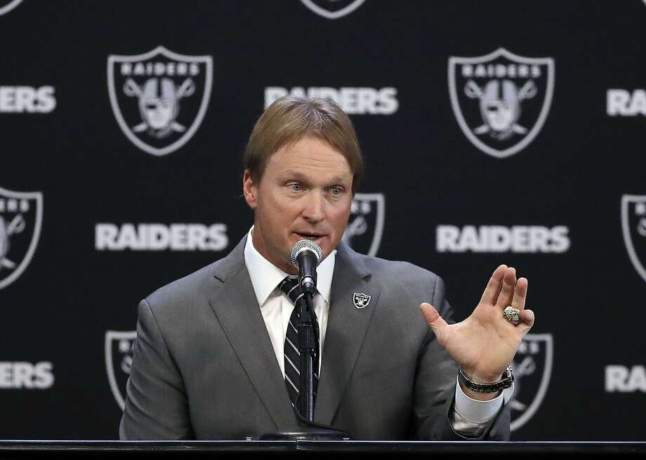 Gruden returns to raiders to take care of unfinished business sfgate oakland raiders head coach jon gruden answers questions during an nfl football press conference tuesday mozeypictures Gallery
