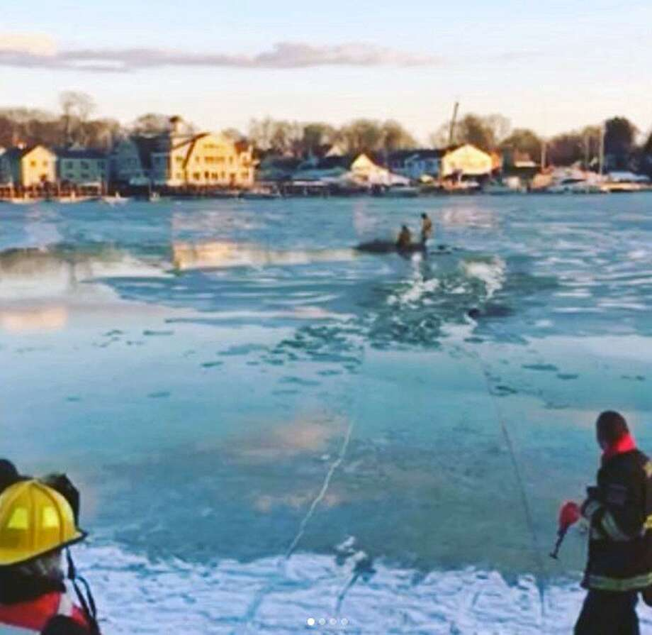 Police and fire units in Darien, Conn., rescued a dog from the water on Jan. 9, 2018. Photo: Contributed Photo / Darien Police Department / Contributed Photo / Connecticut Post Contributed