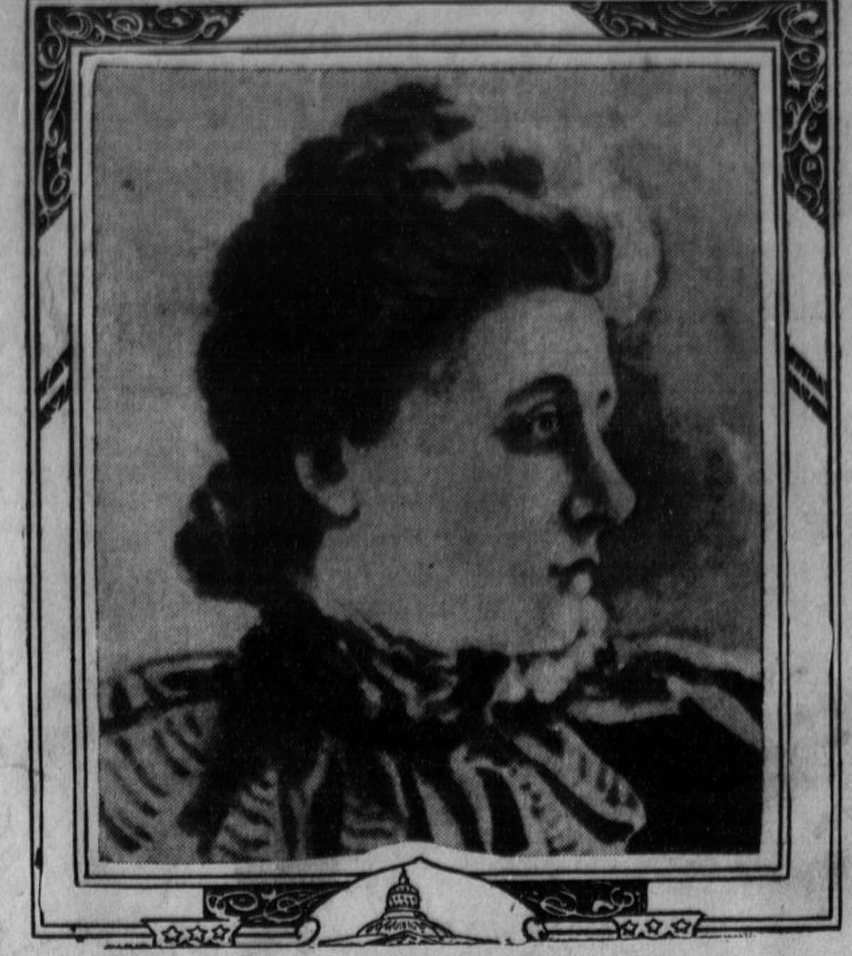 A portrait of Mrs. Jane Stanford's personal secretary, Bertha Berner, from a 1905 issue of the Los Angeles Herald.