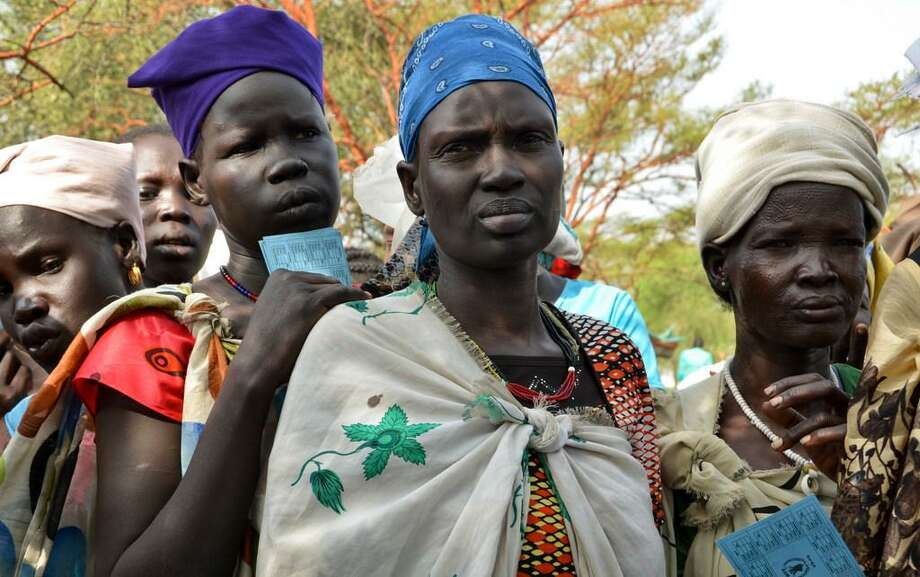 Yes, hunger continues to be a global problem — as attests this photo in South Sudan of women lining up for food aid. South Sudan is a problem because of unrelenting conflict. But hunger is actually decreasing worldwide, as is infant mortality. Incomes are rising as well. Photo: AP Photo /Sam Mednick