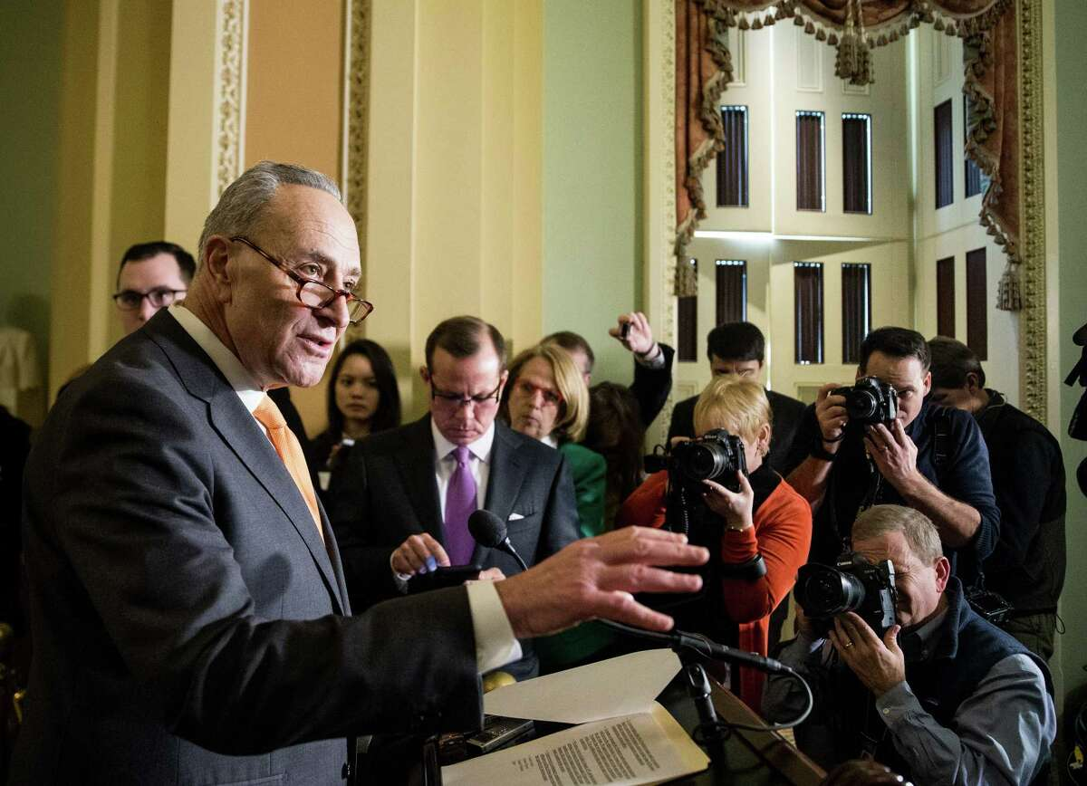 Senate Minority Leader Chuck Schumer (D-N.Y.) speaks at a news conference on Capitol Hill in Washington, Jan. 9, 2018. During a White House meeting with congressional Republicans and Democrats, President Donald Trump appeared to endorse a sweeping immigration deal that would eventually grant millions of undocumented immigrants a pathway to citizenship. (Erin Schaff/The New York Times)