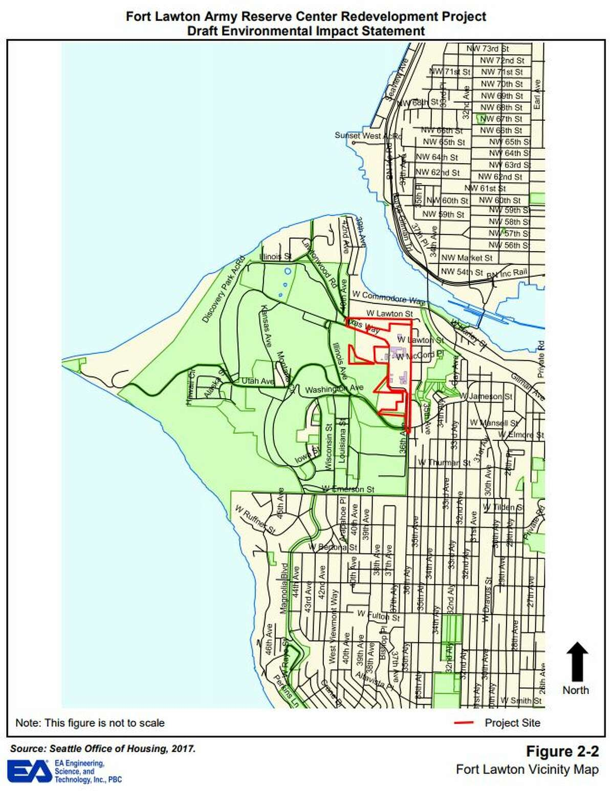 Maps and images from the city of Seattle's draft environmental impact statement for Fort Lawton redevelopment.