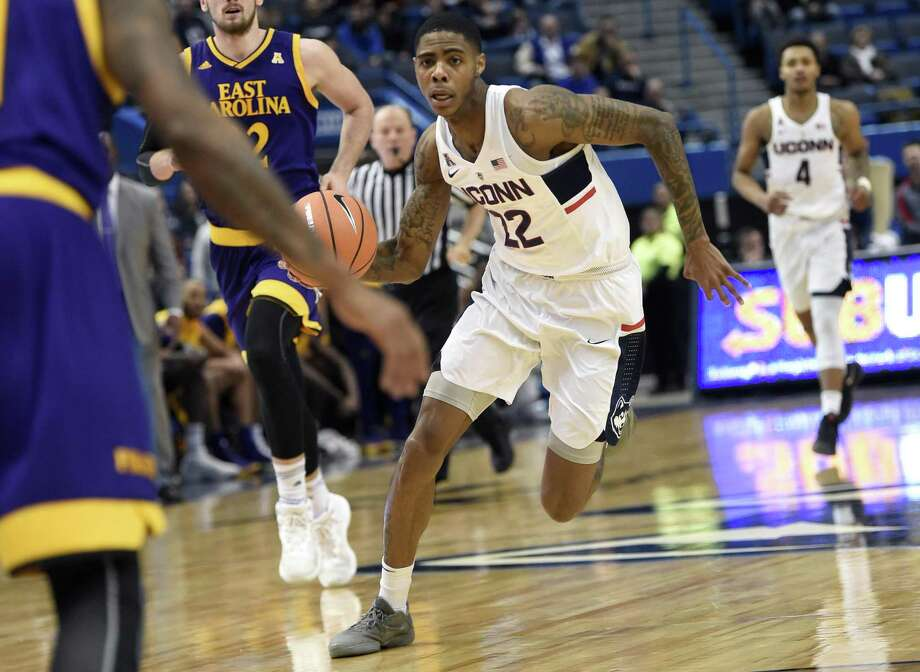 UConn's Terry Larrier drives to the basket against East Carolina on Jan. 6. Photo: Brad Horrigan / TNS / Hartford Courant