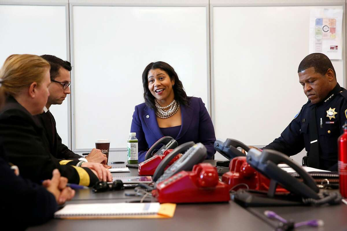 Acting Mayor of San Francisco London Breed, (center) with ( l to r) Fire Chief Joanne Hayes White, Mayor' s Chief of Staff Jason Elliott and Chief of Police William Scott during a briefing with city officials updating here on the city's emergency preparedness and protocol in San Francisco, Calif., on Wednesday December 13, 2017.