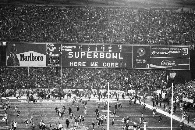 Jan. 10, 1982: The scoreboard after the San Francisco 49ers victory over the Dallas Cowboys at Candlestick Park.