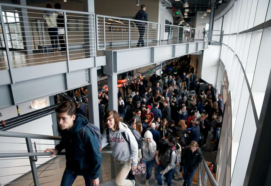 Students explore the Design Tech High School on the Oracle campus in Redwood City for the first time. Photo: Paul Chinn, The Chronicle
