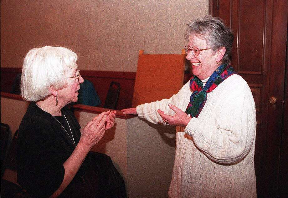 "In 1996, Dorothy Bryant (right) chats with director Barbara Oliver about Bryant's play, ""The Panel."" Photo: LEA SUZUKI, STAFF"