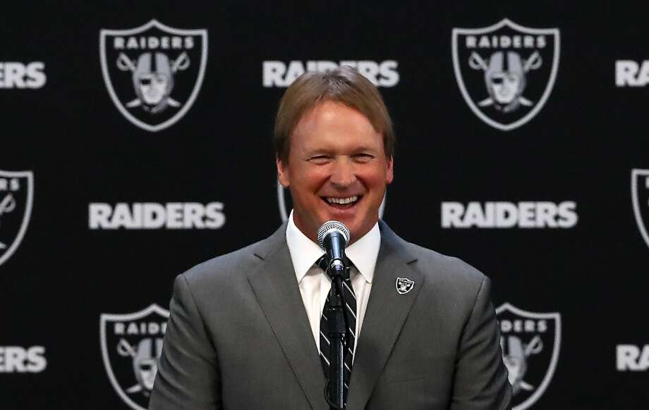 Oakland Raiders new head coach Jon Gruden speaks during a news conference at Oakland Raiders headquarters on January 9, 2018 in Alameda, California. Jon Gruden has returned to the Oakland Raiders after leaving the team in 2001.  Photo: Justin Sullivan, Getty Images