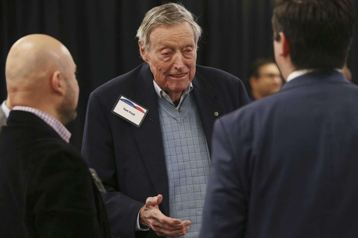 Retired banker Tom Frost attends a Jan. 9 presentation on Texas' economic outlook by Keith Phillips, the Federal Reserve Bank of Dallas assistant vice president and senior economist.