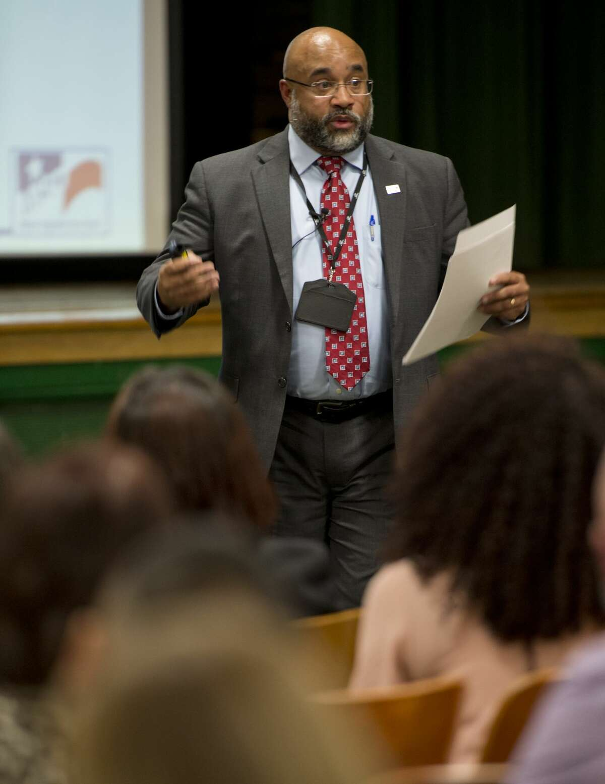 Patrick Jones, MISD Chief Academic Officer, speaks 01/09/18 at the public presentation on what ideas the committees have proposed as part of the District of Innovation. Tim Fischer/Reporter-Telegram