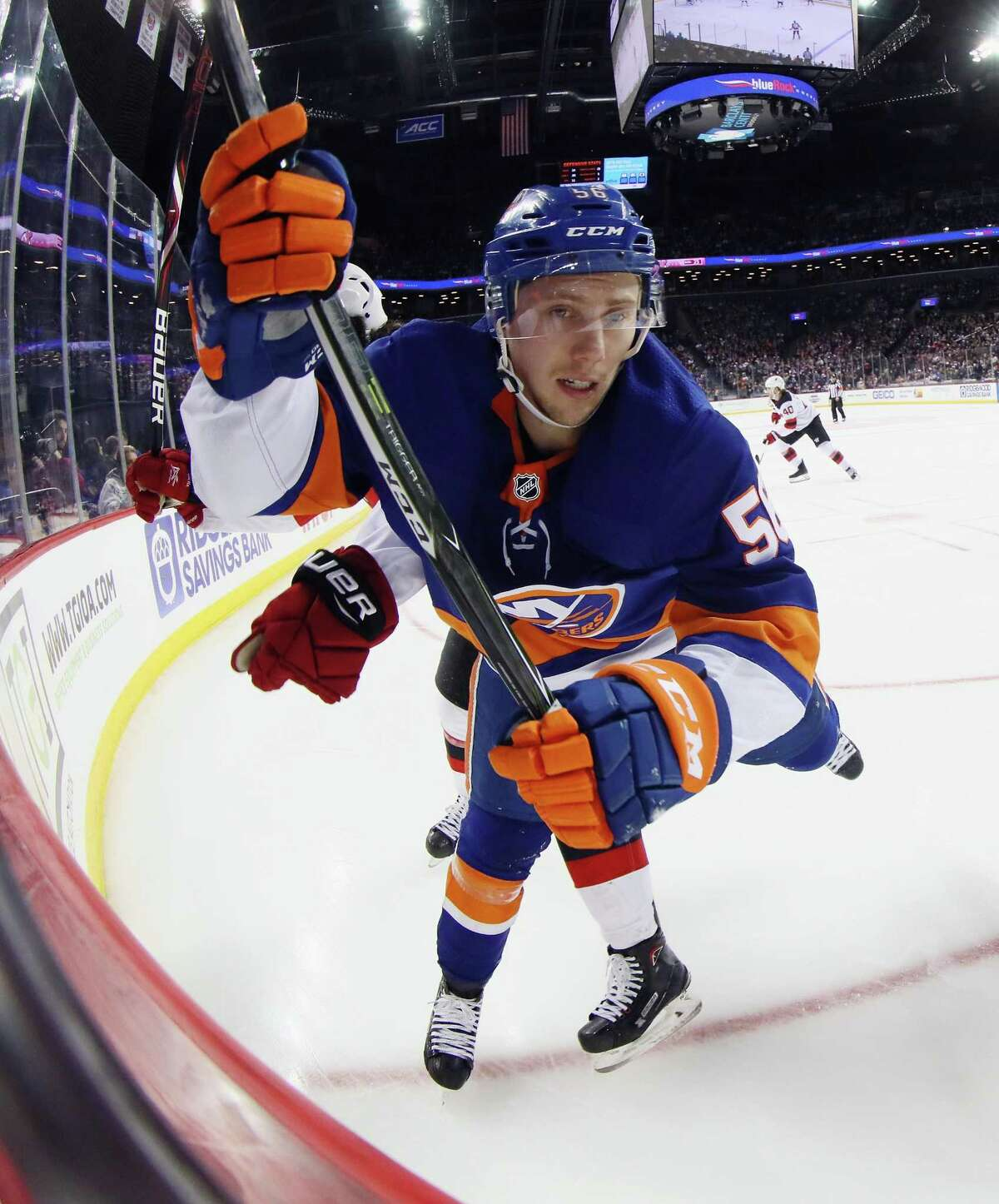 NEW YORK, NY - JANUARY 07: Tanner Fritz #56 of the New York Islanders skates against the New Jersey Devils at the Barclays Center on January 7, 2018 in the Brooklyn borough of New York City. (Photo by Bruce Bennett/Getty Images)
