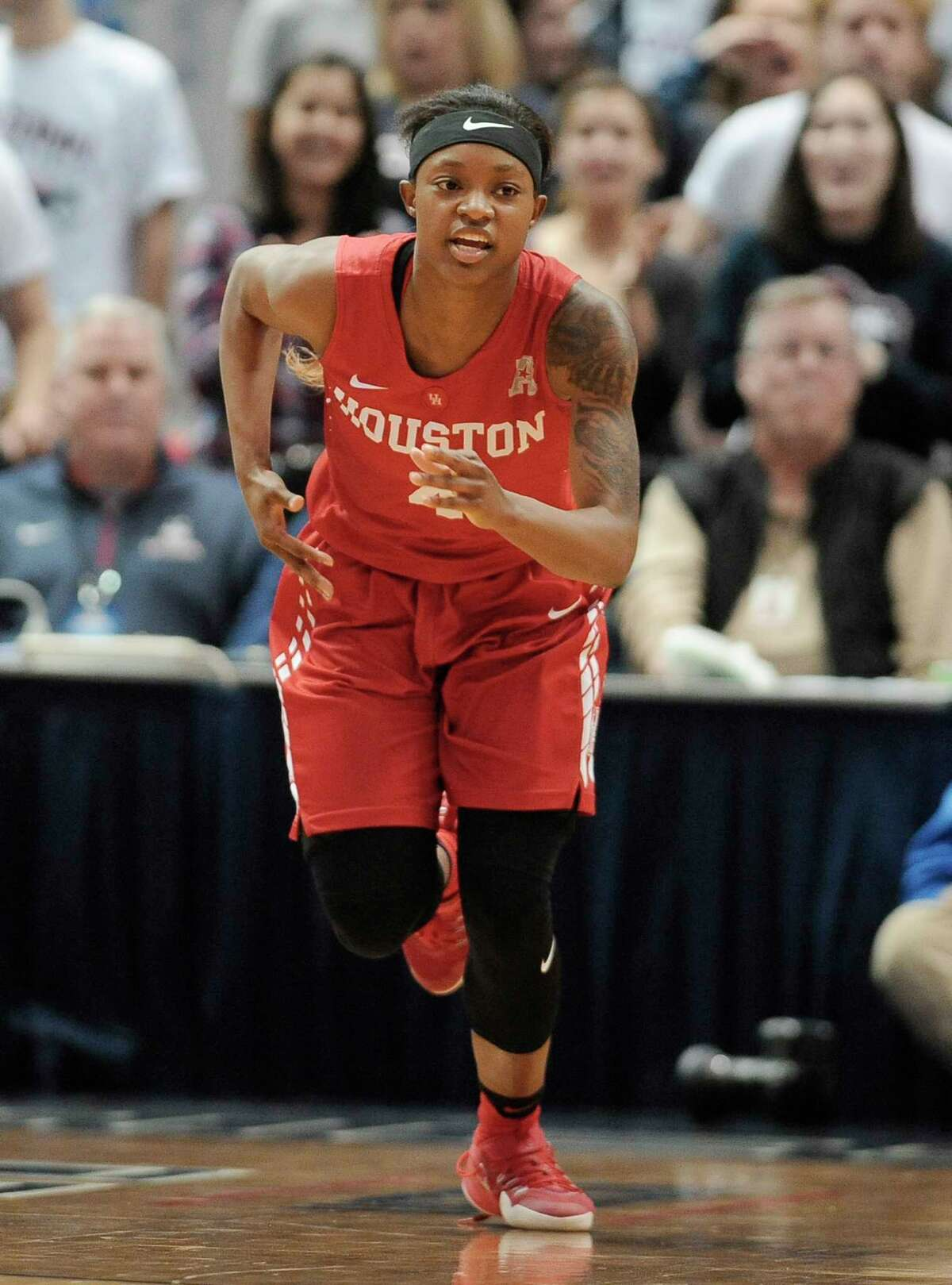 HoustonÂ?'s Jasmyne Harris in the second half of an NCAA college basketball game, Saturday, Jan. 28, 2017, in Hartford, Conn. (AP Photo/Jessica Hill)
