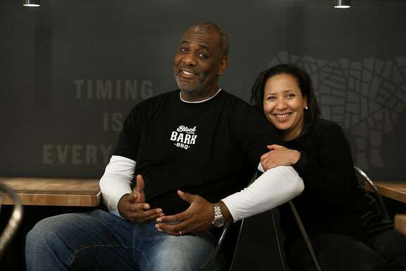 Co-owners and chef David Lawrence and his wife/business partner Monetta White show their soon to open BBQ restaurant, Black Bark in San Francisco, California, on Tuesday, November 24, 2015.