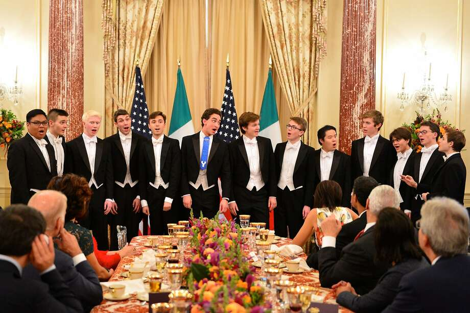 Yale's Spizzwinks sing a cappella for Vice President Joe Biden in 2016. Photo: Yale Spizzwinks?